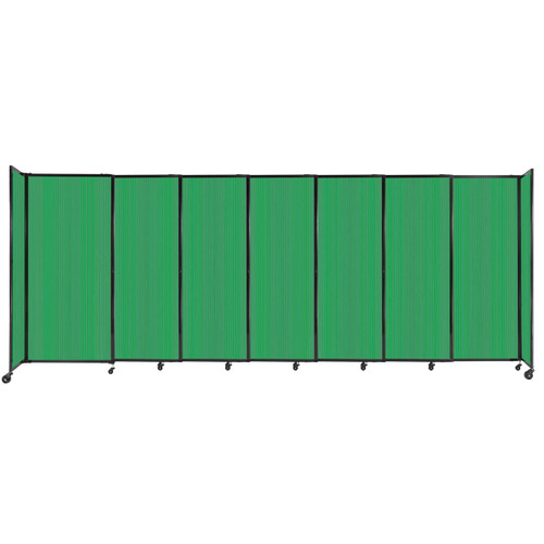 """StraightWall Sliding Portable Partition 15'6"""" x 6' Green Fluted Polycarbonate"""