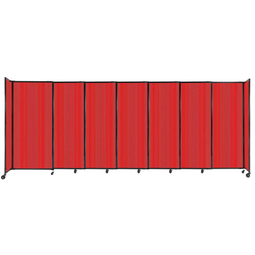 """StraightWall Sliding Portable Partition 15'6"""" x 6' Red Fluted Polycarbonate"""