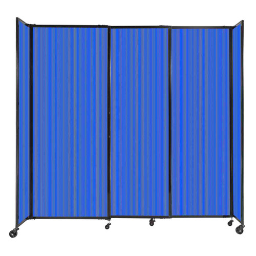 """StraightWall Sliding Portable Partition 7'2"""" x 6'10"""" Blue Fluted Polycarbonate"""