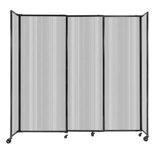 """StraightWall Sliding Portable Partition 7'2"""" x 6'10"""" Clear Fluted Polycarbonate"""