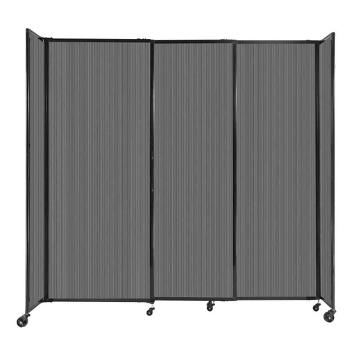 """StraightWall Sliding Portable Partition 7'2"""" x 6'10"""" Dark Gray Fluted Polycarbonate"""