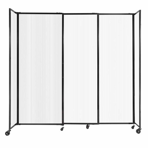 """StraightWall Sliding Portable Partition 7'2"""" x 6'10"""" Opal Fluted Polycarbonate"""