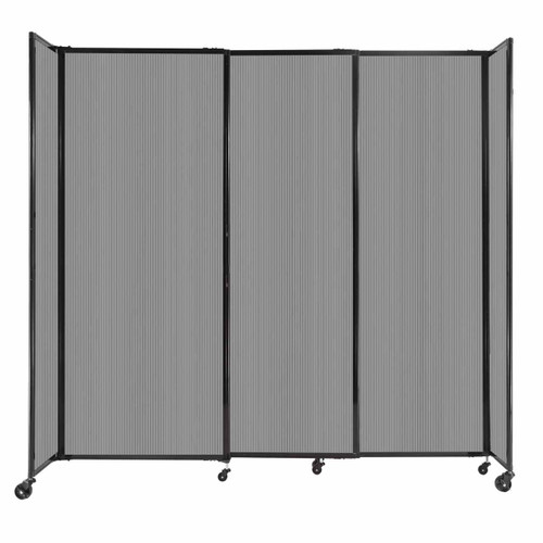 """StraightWall Sliding Portable Partition 7'2"""" x 6'10"""" Light Gray Fluted Polycarbonate"""