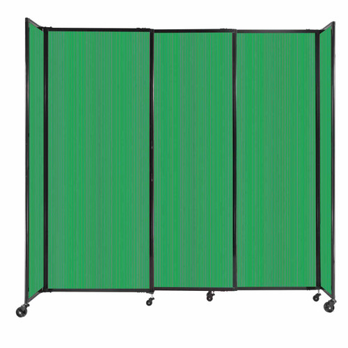 """StraightWall Sliding Portable Partition 7'2"""" x 6'10"""" Green Fluted Polycarbonate"""