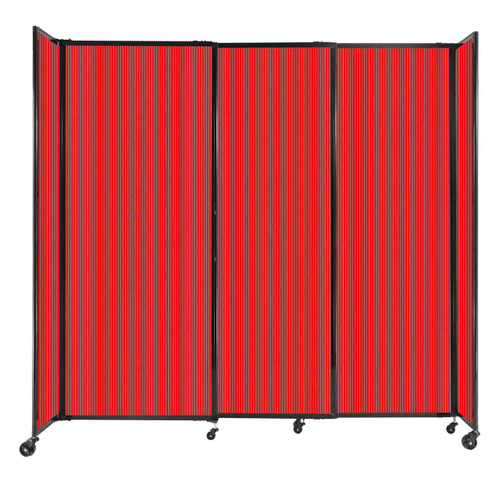 """StraightWall Sliding Portable Partition 7'2"""" x 6'10"""" Red Fluted Polycarbonate"""