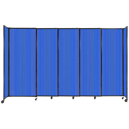 """StraightWall Sliding Portable Partition 11'3"""" x 6'10"""" Blue Fluted Polycarbonate"""