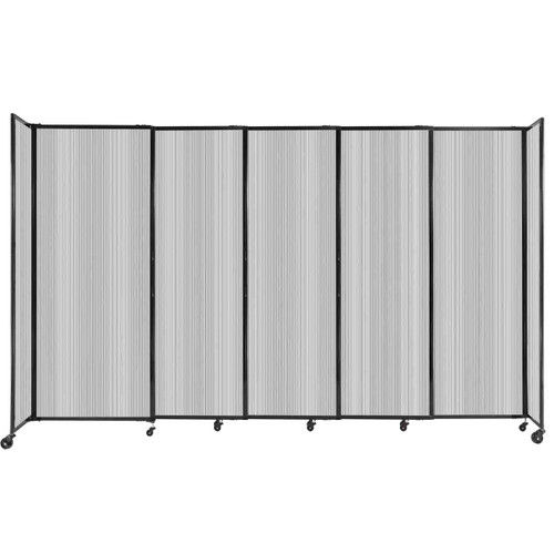 """StraightWall Sliding Portable Partition 11'3"""" x 6'10"""" Clear Fluted Polycarbonate"""