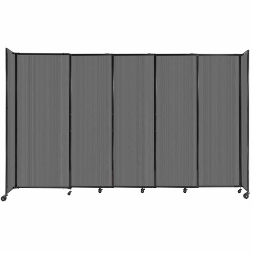 """StraightWall Sliding Portable Partition 11'3"""" x 6'10"""" Dark Gray Fluted Polycarbonate"""