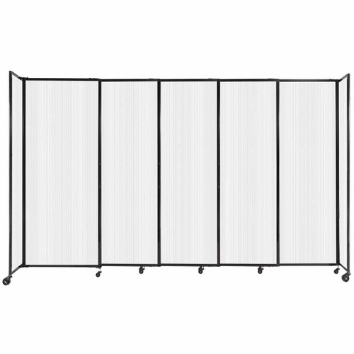 """StraightWall Sliding Portable Partition 11'3"""" x 6'10"""" Opal Fluted Polycarbonate"""