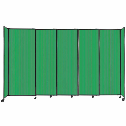 """StraightWall Sliding Portable Partition 11'3"""" x 6'10"""" Green Fluted Polycarbonate"""