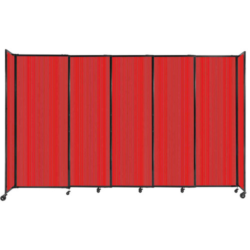 """StraightWall Sliding Portable Partition 11'3"""" x 6'10"""" Red Fluted Polycarbonate"""