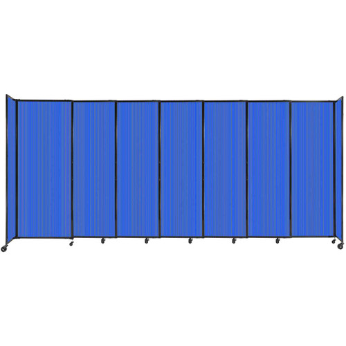 """StraightWall Sliding Portable Partition 15'6"""" x 6'10"""" Blue Fluted Polycarbonate"""