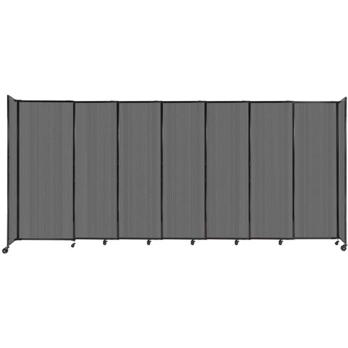 """StraightWall Sliding Portable Partition 15'6"""" x 6'10"""" Dark Gray Fluted Polycarbonate"""