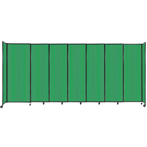 """StraightWall Sliding Portable Partition 15'6"""" x 6'10"""" Green Fluted Polycarbonate"""