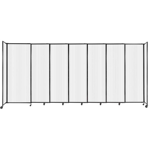 """StraightWall Sliding Portable Partition 15'6"""" x 6'10"""" Opal Fluted Polycarbonate"""