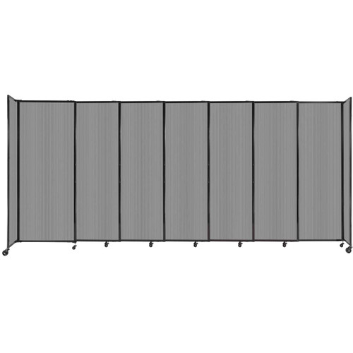 """StraightWall Sliding Portable Partition 15'6"""" x 6'10"""" Light Gray Fluted Polycarbonate"""