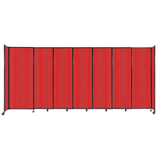 """StraightWall Sliding Portable Partition 15'6"""" x 6'10"""" Red Fluted Polycarbonate"""