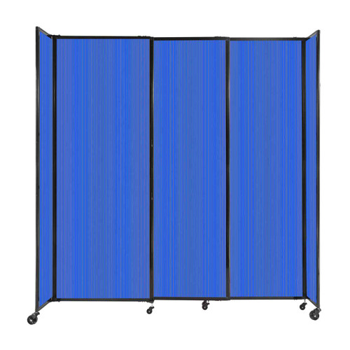 """StraightWall Sliding Portable Partition 7'2"""" x 7'6"""" Blue Fluted Polycarbonate"""