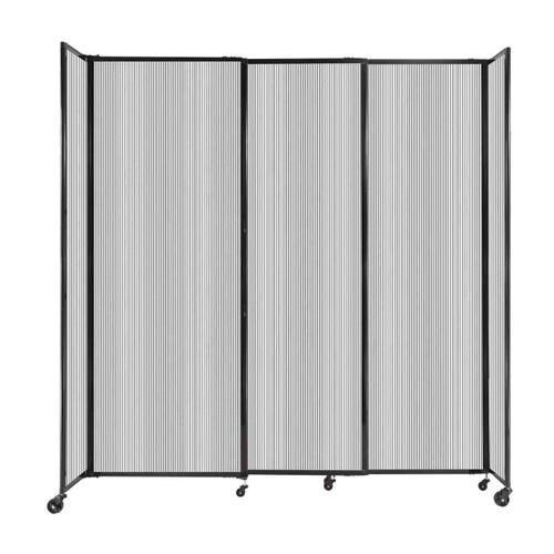 """StraightWall Sliding Portable Partition 7'2"""" x 7'6"""" Clear Fluted Polycarbonate"""