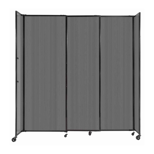 """StraightWall Sliding Portable Partition 7'2"""" x 7'6"""" Dark Gray Fluted Polycarbonate"""