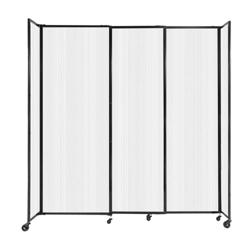 """StraightWall Sliding Portable Partition 7'2"""" x 7'6"""" Opal Fluted Polycarbonate"""