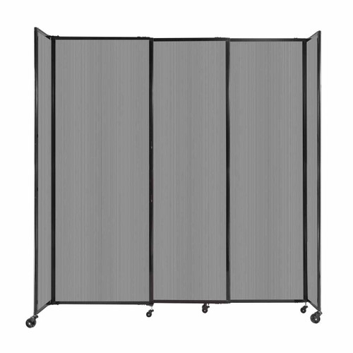 """StraightWall Sliding Portable Partition 7'2"""" x 7'6"""" Light Gray Fluted Polycarbonate"""