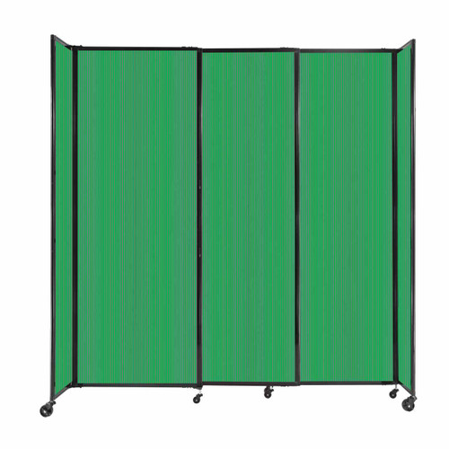 """StraightWall Sliding Portable Partition 7'2"""" x 7'6"""" Green Fluted Polycarbonate"""