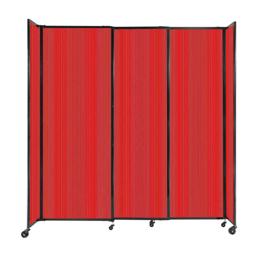"""StraightWall Sliding Portable Partition 7'2"""" x 7'6"""" Red Fluted Polycarbonate"""