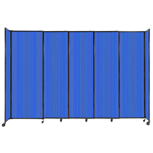 """StraightWall Sliding Portable Partition 11'3"""" x 7'6"""" Blue Fluted Polycarbonate"""