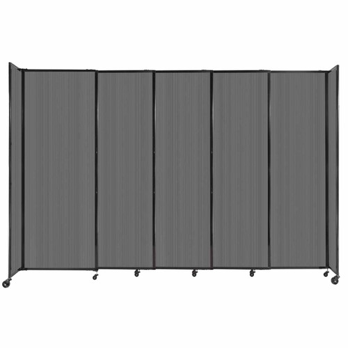 """StraightWall Sliding Portable Partition 11'3"""" x 7'6"""" Dark Gray Fluted Polycarbonate"""