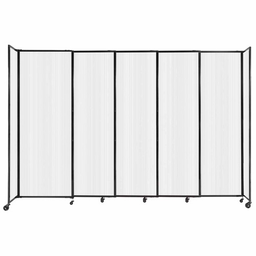 """StraightWall Sliding Portable Partition 11'3"""" x 7'6"""" Opal Fluted Polycarbonate"""