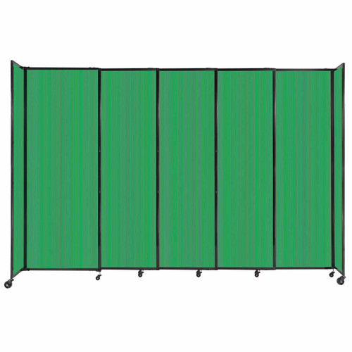"""StraightWall Sliding Portable Partition 11'3"""" x 7'6"""" Green Fluted Polycarbonate"""