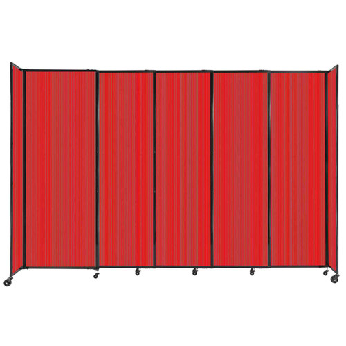 """StraightWall Sliding Portable Partition 11'3"""" x 7'6"""" Red Fluted Polycarbonate"""
