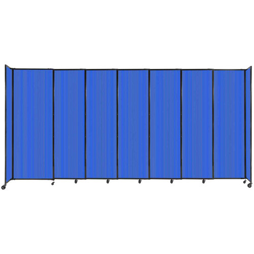 """StraightWall Sliding Portable Partition 15'6"""" x 7'6"""" Blue Fluted Polycarbonate"""