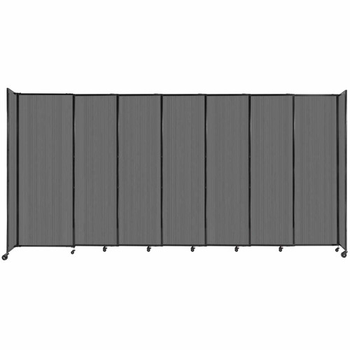 """StraightWall Sliding Portable Partition 15'6"""" x 7'6"""" Dark Gray Fluted Polycarbonate"""