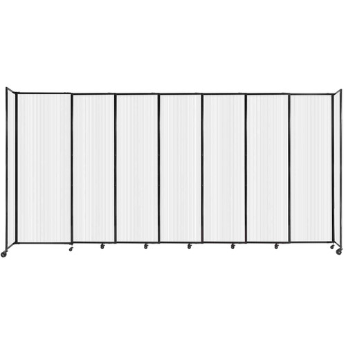 """StraightWall Sliding Portable Partition 15'6"""" x 7'6"""" Opal Fluted Polycarbonate"""