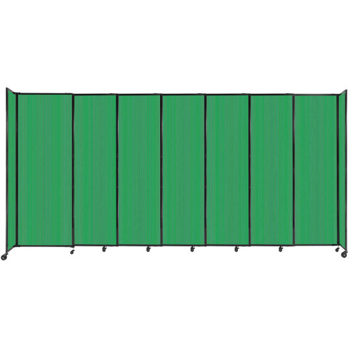"""StraightWall Sliding Portable Partition 15'6"""" x 7'6"""" Green Fluted Polycarbonate"""