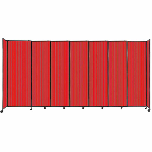 """StraightWall Sliding Portable Partition 15'6"""" x 7'6"""" Red Fluted Polycarbonate"""