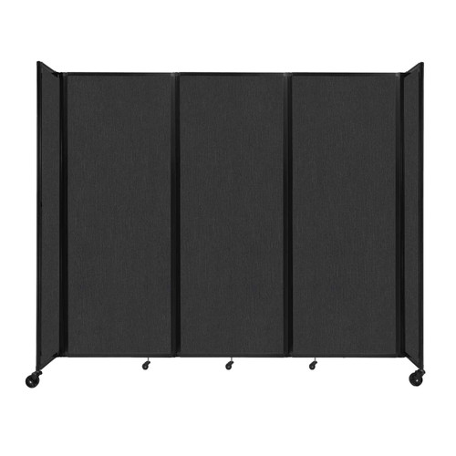 """Room Divider 360 Folding Portable Partition 8'6"""" x 7'6"""" Black Fabric"""