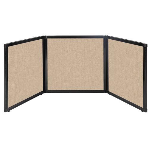 "Folding Tabletop Display 78"" x 24"" Beige Fabric"