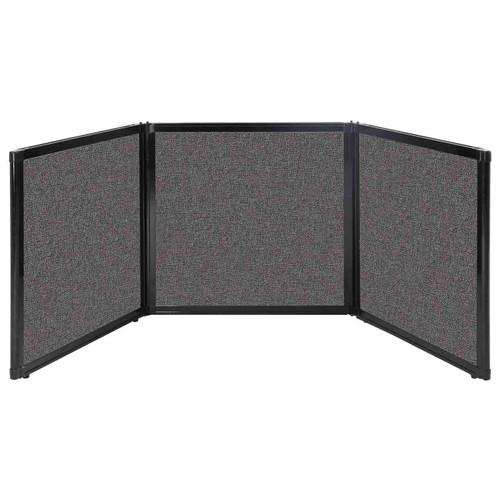"Folding Tabletop Display 78"" x 24"" Charcoal Gray Fabric"