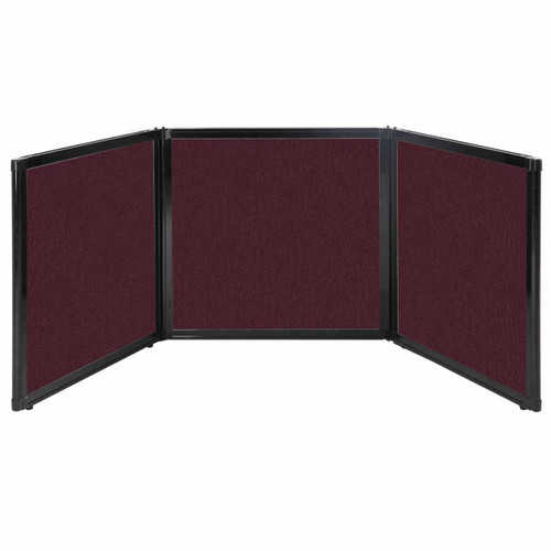 "Folding Tabletop Display 78"" x 24"" Cranberry Fabric"
