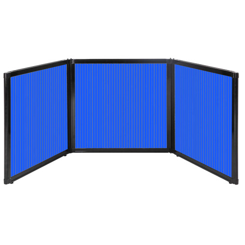 "Folding Tabletop Display 78"" x 24"" Blue Polycarbonate"