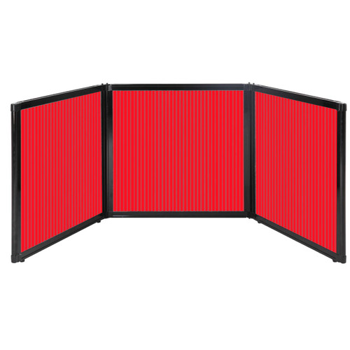 """Folding Tabletop Display 78"""" x 24"""" Red Polycarbonate"""
