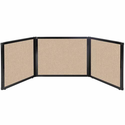 "Folding Tabletop Display 99"" x 24"" Beige Fabric"