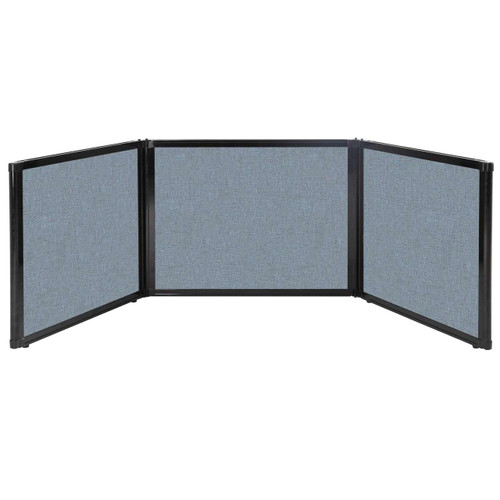 "Folding Tabletop Display 99"" x 24"" Powder Blue Fabric"