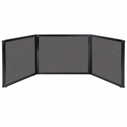 "Folding Tabletop Display 99"" x 24"" Charcoal Gray Fabric"