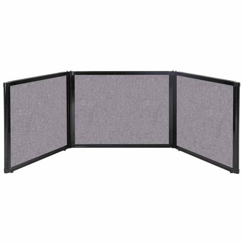 "Folding Tabletop Display 99"" x 24"" Cloud Gray Fabric"