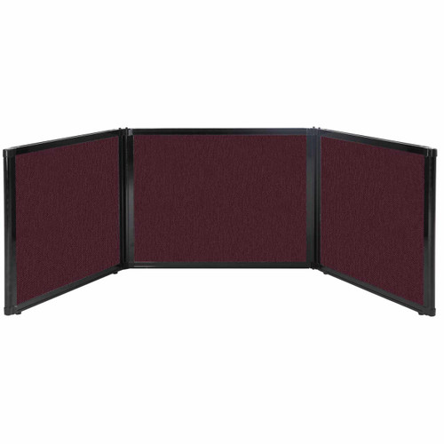 "Folding Tabletop Display 99"" x 24"" Cranberry Fabric"