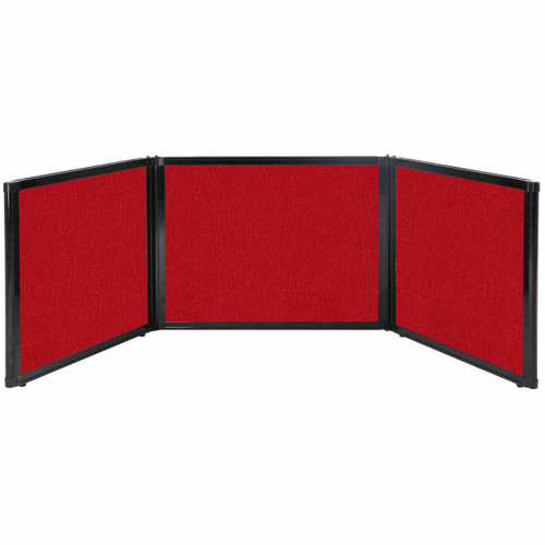 """Folding Tabletop Display 99"""" x 24"""" Red Fabric"""